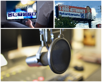 three images depicting tv, radio, and billboard advertising for Lawyers