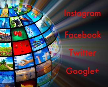 social media concept showing a globe full of shared image from around the world